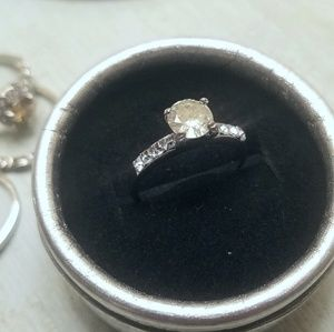 Jewelry - Moissanite Solitaire Two Ring Set Sterling Silver